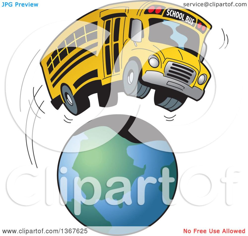 medium resolution of clipart of a cartoon yellow school bus going on a field trip around the earth royalty free vector illustration by clip art mascots