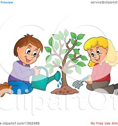 clipart of a caucasian boy and girl planting a tree together royalty free vector illustration [ 1080 x 1024 Pixel ]