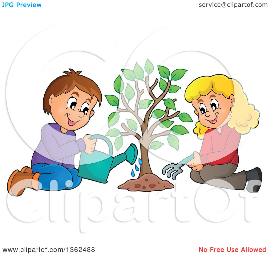 hight resolution of clipart of a caucasian boy and girl planting a tree together royalty free vector illustration