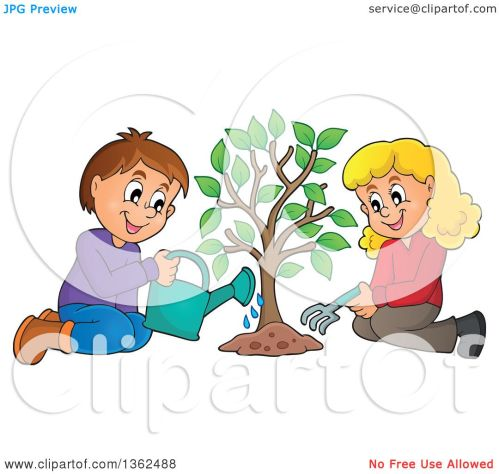 small resolution of clipart of a caucasian boy and girl planting a tree together royalty free vector illustration