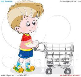 pushing shopping cart boy clipart caucasian illustration royalty vector bannykh alex