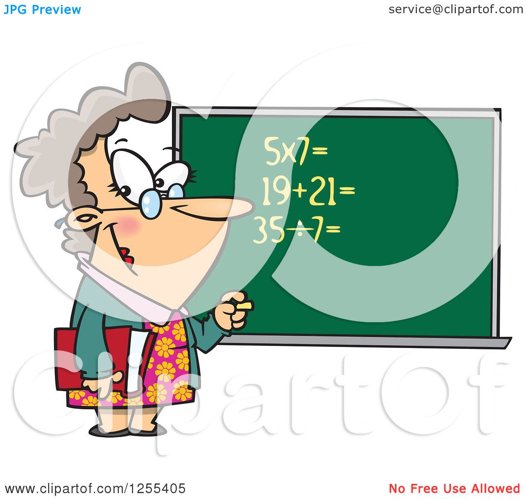 hight resolution of clipart of a caucasian female math teacher at a chalk board royalty free vector illustration by toonaday
