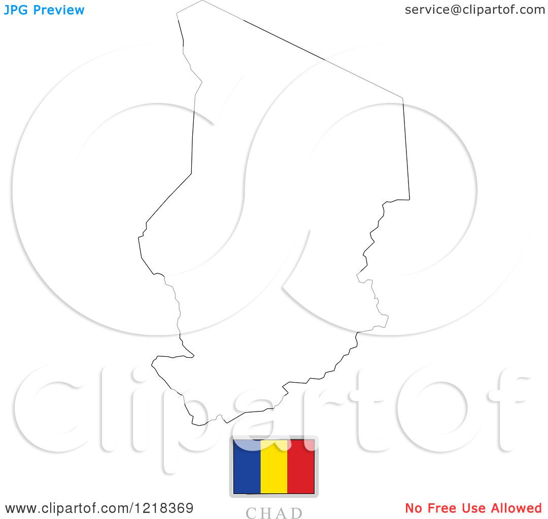 Clipart Of A Chad Flag And Map Outline