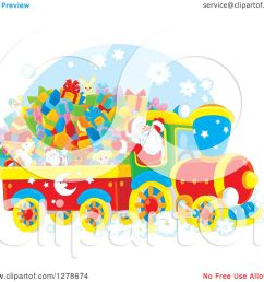 clipart of a cheerful santa claus driving a train full of christmas gifts and toys royalty free vector illustration by alex bannykh [ 1080 x 1024 Pixel ]