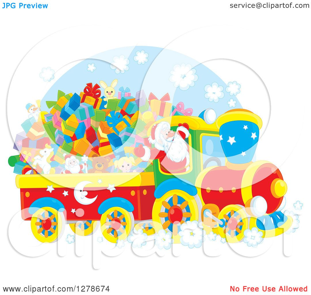 hight resolution of clipart of a cheerful santa claus driving a train full of christmas gifts and toys royalty free vector illustration by alex bannykh