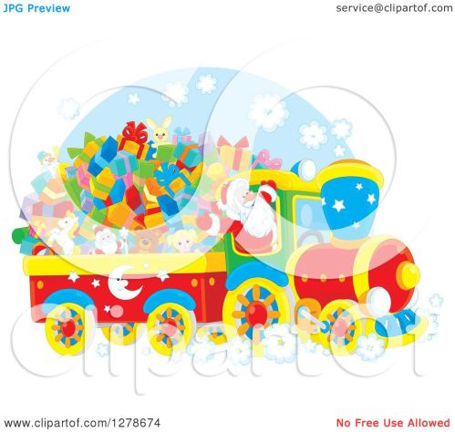 small resolution of clipart of a cheerful santa claus driving a train full of christmas gifts and toys royalty free vector illustration by alex bannykh