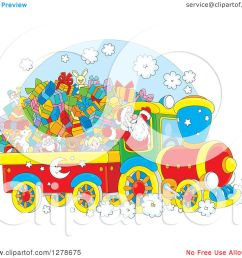clipart of a cheerful santa driving a train full of christmas gifts and toys royalty free [ 1080 x 1024 Pixel ]