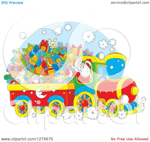 small resolution of clipart of a cheerful santa driving a train full of christmas gifts and toys royalty free
