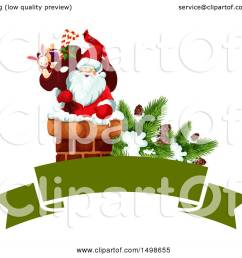 clipart of a christmas banner with santa in a chimney royalty free vector illustration by [ 1080 x 1024 Pixel ]