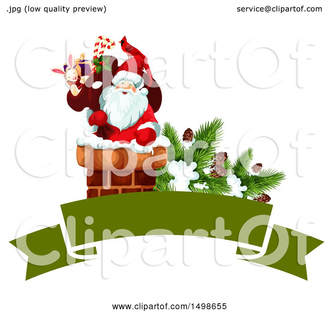 hight resolution of clipart of a christmas banner with santa in a chimney royalty free vector illustration by