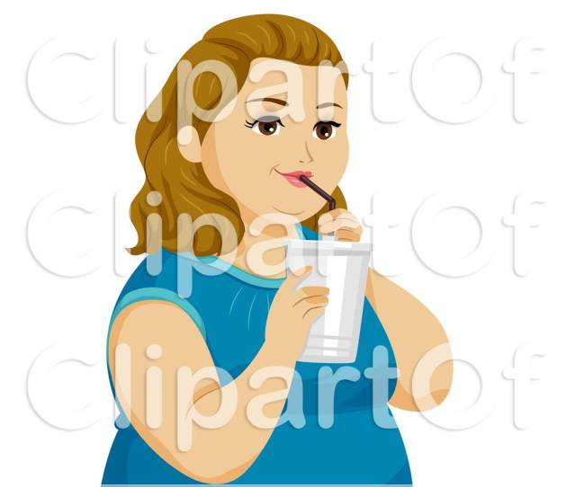 Clipart Of A Chubby Teen Girl Drinking A Beverage Royalty Free Vector Illustration By Bnp Design Studio