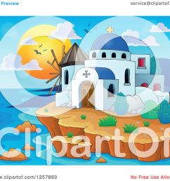 clipart of a coastal greek church and windmill royalty free vector illustration by visekart [ 1080 x 1024 Pixel ]