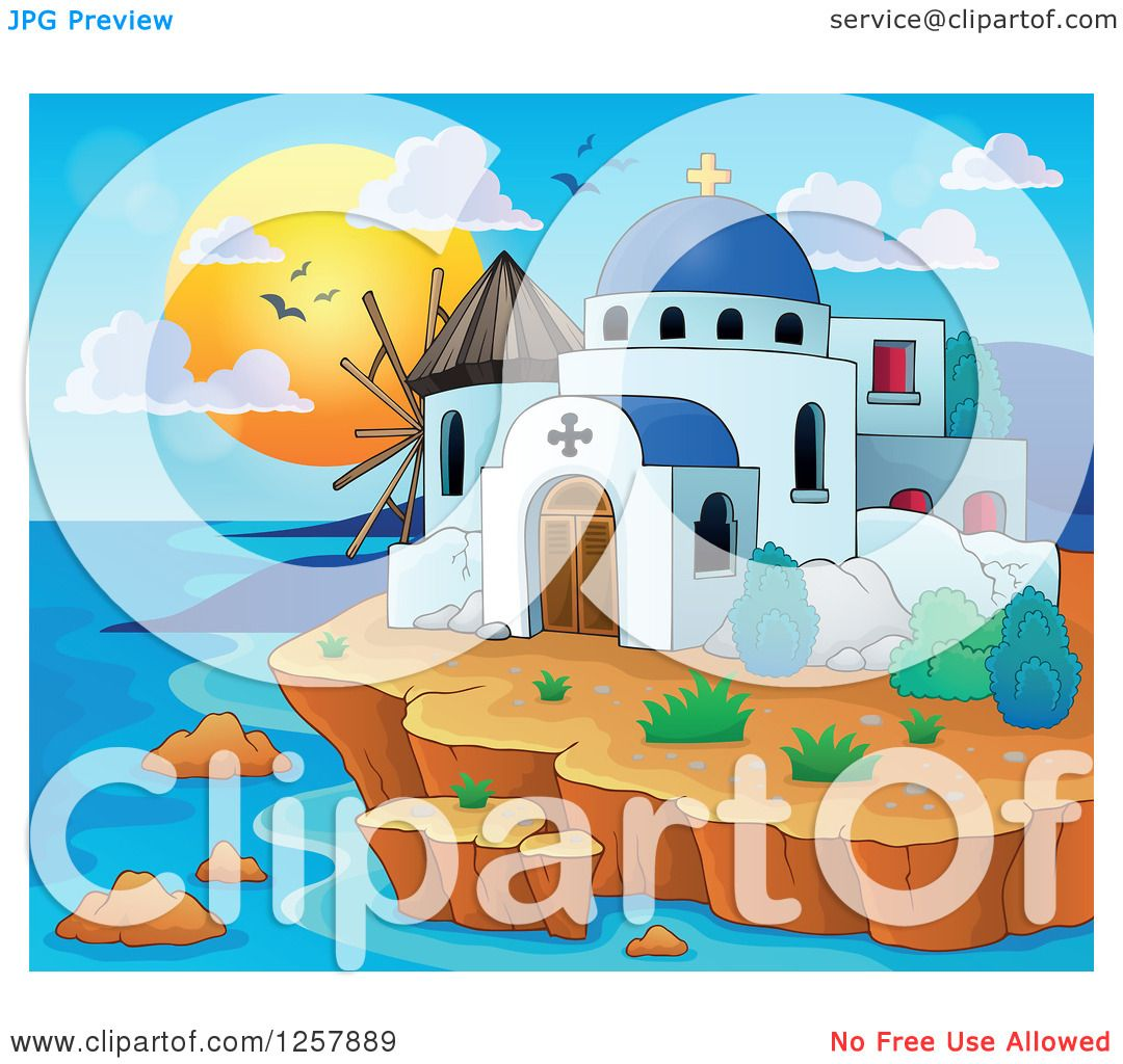 hight resolution of clipart of a coastal greek church and windmill royalty free vector illustration by visekart