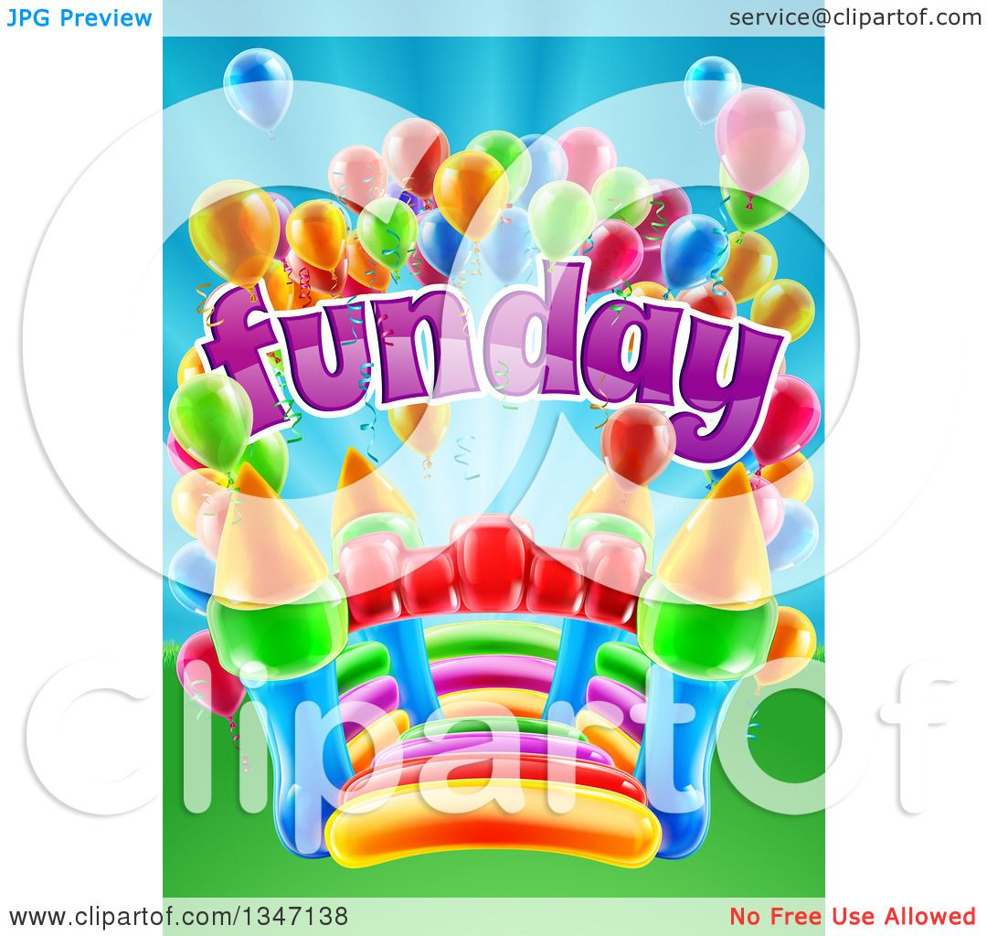 hight resolution of clipart of a colorful bouncy castle jumping house with party balloons and fun day text