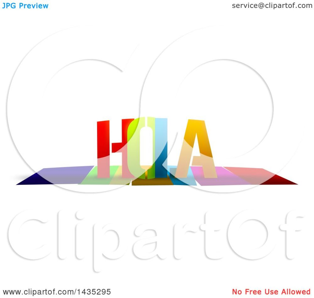 medium resolution of clipart of a colorful word hola with shadows on white royalty free