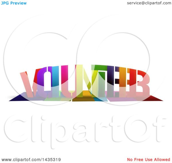 Clipart Of Colorful Word Volunteer With Shadows