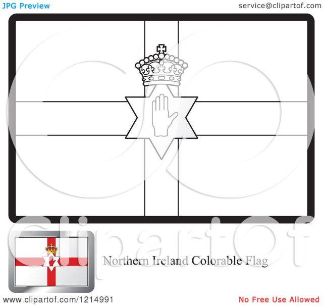 Clipart of a Coloring Page and Sample for a Northern Ireland Flag