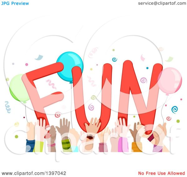 Clipart Of Crowd Children' Hands Holding Word