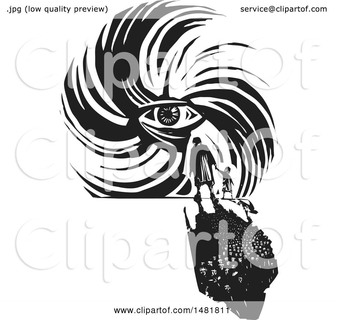 Clipart Of A Crowd Of Refugees Facing A Human Eye In A