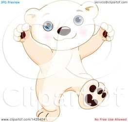 bear polar cute baby cub dancing illustration clipart adorable royalty pushkin vector