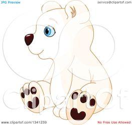 bear polar sitting cub baby clipart cute illustration left facing vector royalty pushkin collc0093