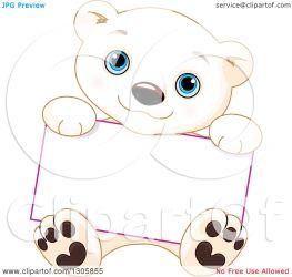 bear polar cub baby cute sitting holding sign clipart vector illustration blank royalty pushkin