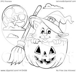 halloween cat pumpkin cute witch clipart lineart vector illustration royalty visekart