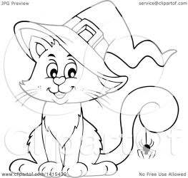 cat halloween witch cute spider clipart tail lineart illustration its royalty visekart clip vector