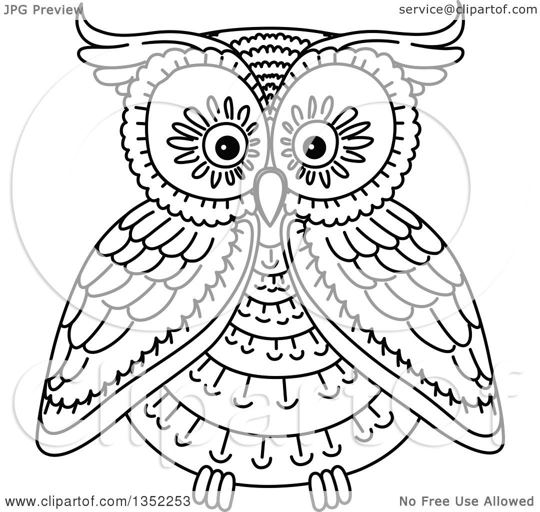 Clipart Of A Cute Black And White Owl