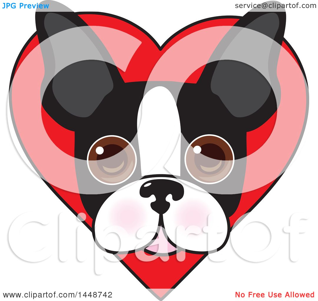 Download Clipart of a Cute Boston Terrier Face over a Love Heart ...