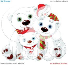 bear polar christmas cute clipart illustration hats scarves royalty vector pushkin collc0093