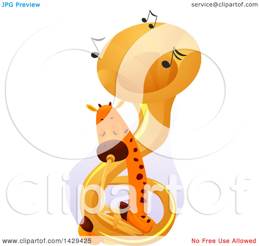hight resolution of clipart of a cute giraffe playing a tuba royalty free vector illustration by bnp design studio