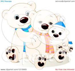 bear polar cute hugging clipart illustration wearing royalty scarves vector pushkin collc0093 protected