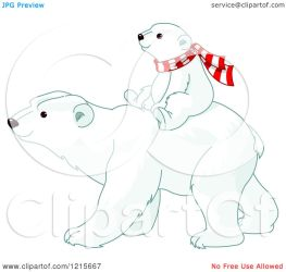 polar bear cub cute clipart scarf wearing riding moms its vector illustration royalty silhouette coloring pushkin pages