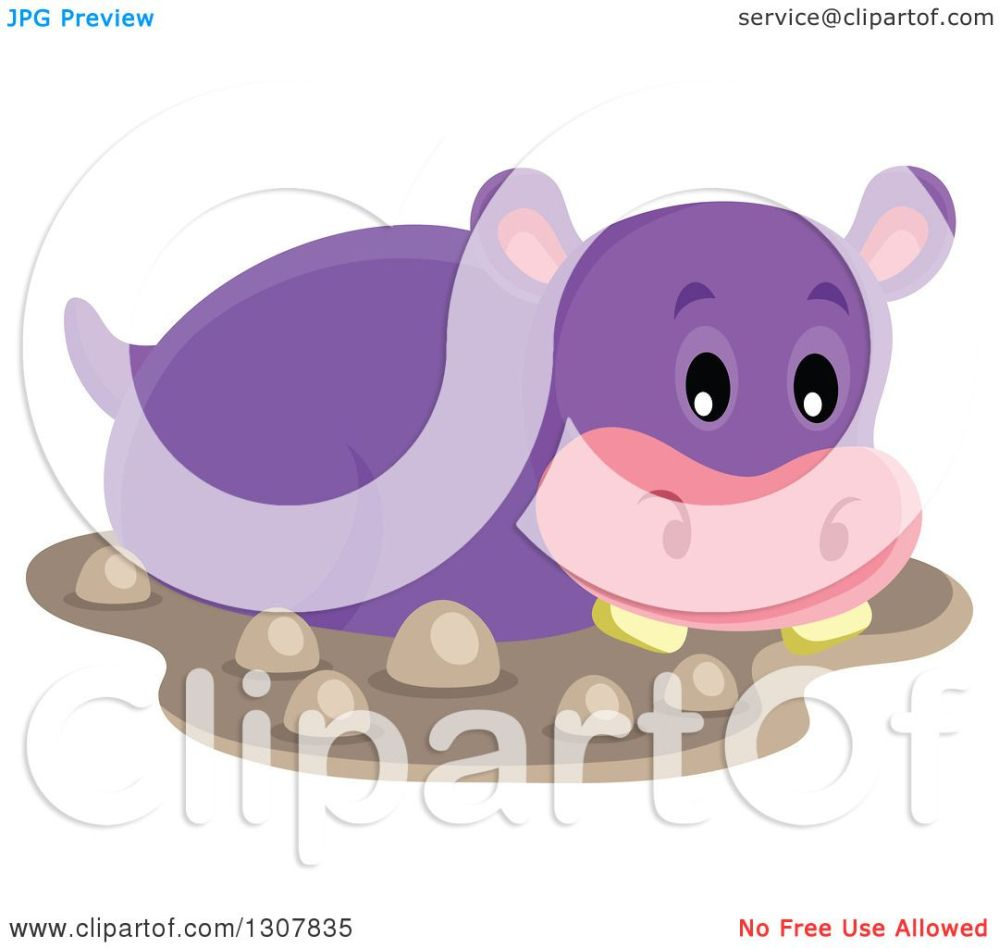 medium resolution of clipart of a cute purple african hippopotamus in mud royalty free vector illustration by visekart