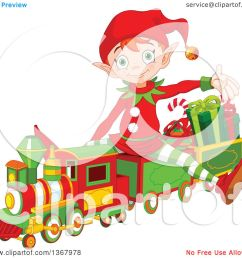 clipart of a cute red haired christmas elf presenting and sitting on a toy train  [ 1080 x 1024 Pixel ]