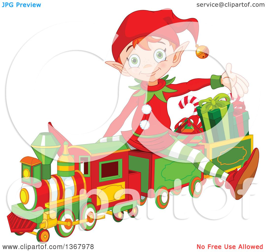 hight resolution of clipart of a cute red haired christmas elf presenting and sitting on a toy train