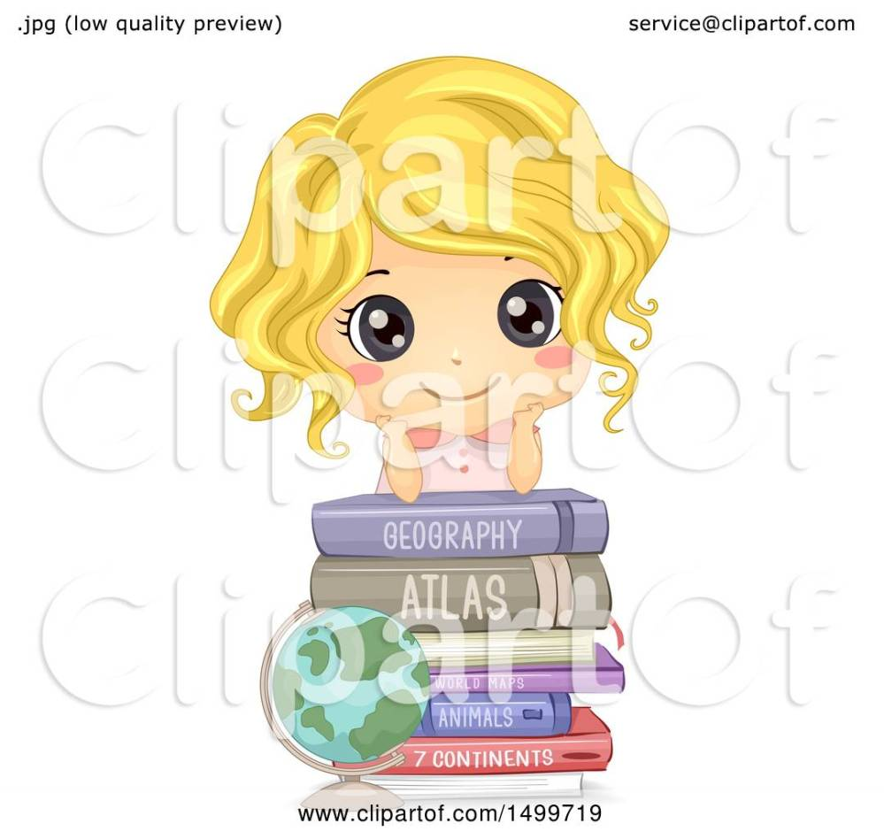 medium resolution of clipart of a cute white girl on top of geography books royalty free vector illustration