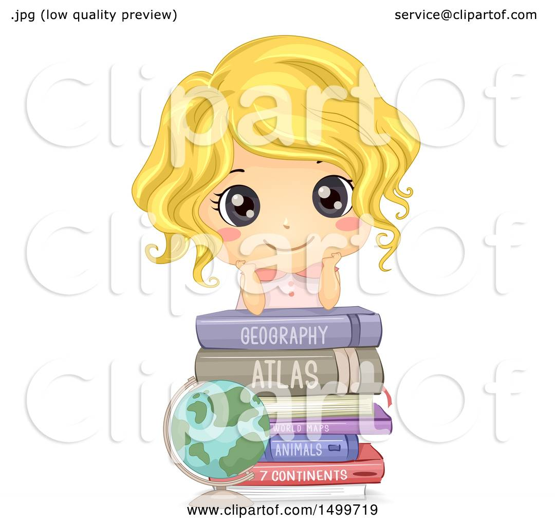 hight resolution of clipart of a cute white girl on top of geography books royalty free vector illustration