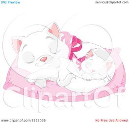 cat bed cute kitten clipart sleeping pillow mother illustration its royalty vector pushkin