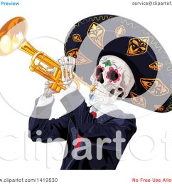 clipart of a dia de muertos day of the dead skeleton playing a trumpet royalty free vector illustration by pushkin [ 1080 x 1024 Pixel ]