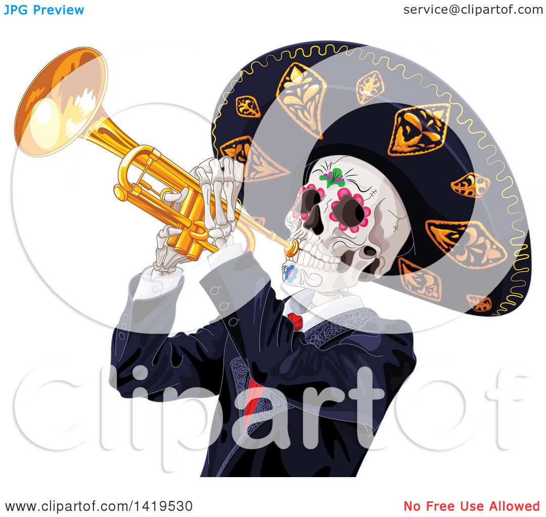 hight resolution of clipart of a dia de muertos day of the dead skeleton playing a trumpet royalty free vector illustration by pushkin