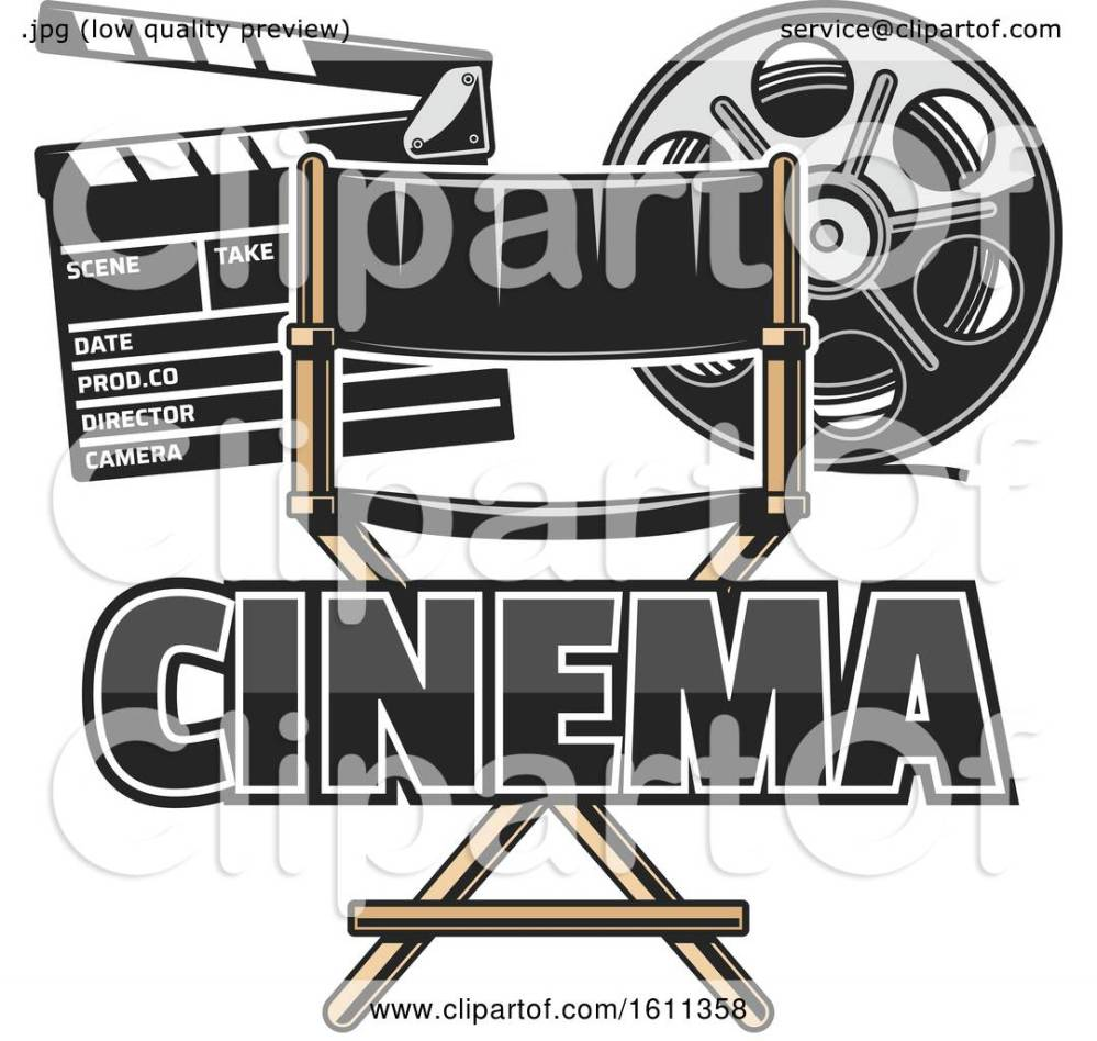 medium resolution of clipart of a directors chair film reel and clapper board royalty free vector illustration by