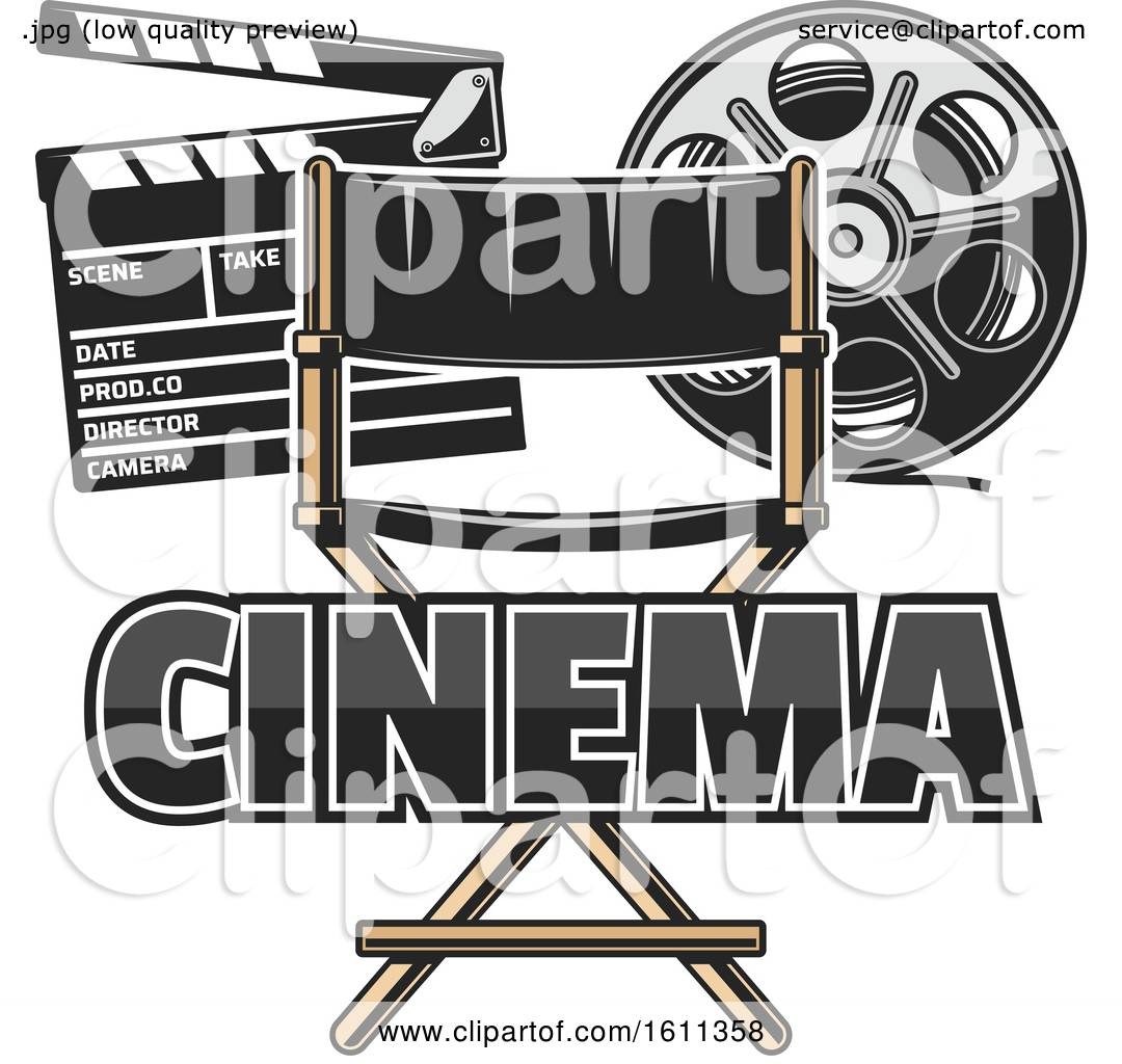 hight resolution of clipart of a directors chair film reel and clapper board royalty free vector illustration by