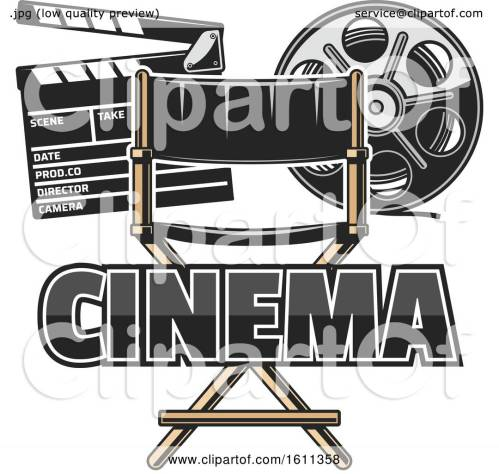 small resolution of clipart of a directors chair film reel and clapper board royalty free vector illustration by