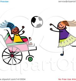 clipart of a doodled disabled girl and friend playing soccer royalty free vector illustration by [ 1080 x 1024 Pixel ]