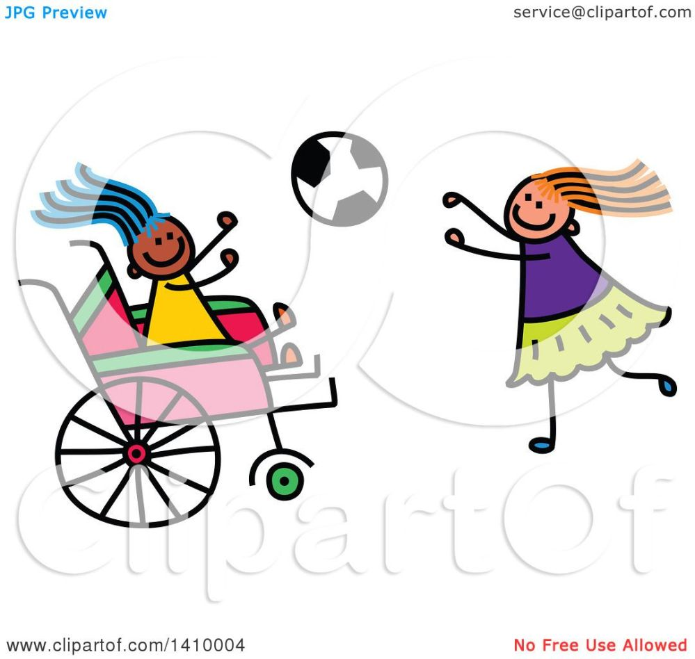 medium resolution of clipart of a doodled disabled girl and friend playing soccer royalty free vector illustration by