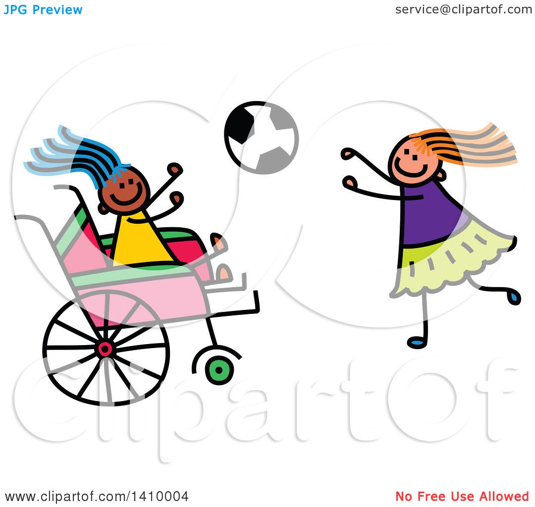 hight resolution of clipart of a doodled disabled girl and friend playing soccer royalty free vector illustration by