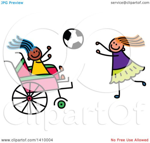 small resolution of clipart of a doodled disabled girl and friend playing soccer royalty free vector illustration by