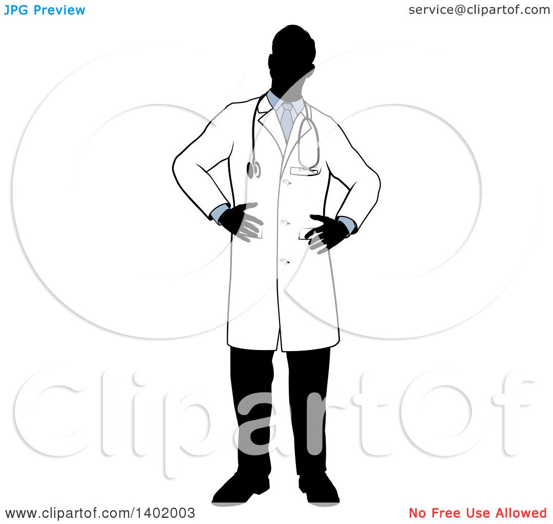 Clipart Of A Faceless Silhouetted Male Doctor Wearing A